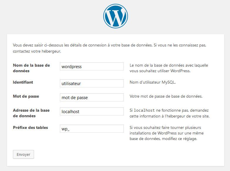 connexion base de données wordpress